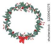 hand drawn gouache wreath with...   Shutterstock . vector #1220042275