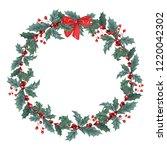 hand drawn gouache wreath with...   Shutterstock . vector #1220042302