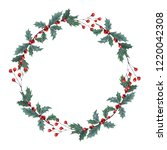 hand drawn gouache wreath with... | Shutterstock . vector #1220042308
