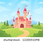 fairytale landscape with castle.... | Shutterstock .eps vector #1220051098