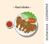 fried chicken with chilli sauce ... | Shutterstock .eps vector #1220060965