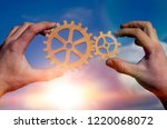 two hands of people that join... | Shutterstock . vector #1220068072