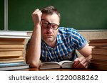 a tired and tortured disheveled ...   Shutterstock . vector #1220088262