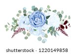 Stock vector dusty blue rose white hydrangea ranunculus anemone eucalyptus burgundy red astilbe vector 1220149858