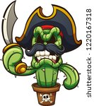 angry cactus pirate.  vector... | Shutterstock .eps vector #1220167318