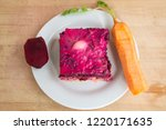 Stock photo dressed herring or herring under a fur coat traditional russian cuisine layered salad composed of 1220171635