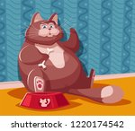 funny fat cat. cartoon vector... | Shutterstock .eps vector #1220174542