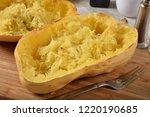 fresh baked spaghetti squash... | Shutterstock . vector #1220190685