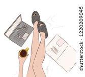 cozy home illustration. model... | Shutterstock .eps vector #1220209045