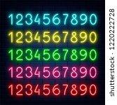 vector glowing neon blue yellow ... | Shutterstock .eps vector #1220222728