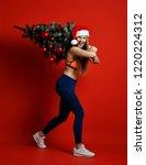 sexy christmas fitness sport... | Shutterstock . vector #1220224312