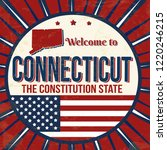 welcome to connecticut vintage...   Shutterstock .eps vector #1220246215