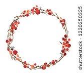 watercolor christmas wreath of... | Shutterstock . vector #1220250325