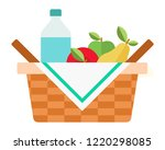wicker picnic basket with a... | Shutterstock .eps vector #1220298085