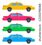 set of colored taxi cars side... | Shutterstock .eps vector #1220298088