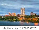 Stock photo tulsa oklahoma usa downtown skyline on the arkansas river at dusk 1220319232