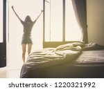 confusion duvet and bed in... | Shutterstock . vector #1220321992