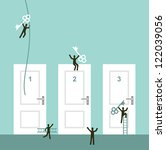 Different doors to success business concept illustration. Vector illustration layered for easy manipulation and custom coloring. - stock vector