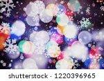 winter blue sky with falling... | Shutterstock . vector #1220396965