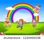 vector illustration of happy... | Shutterstock .eps vector #1220406538