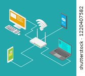 vector illustration of wireless ... | Shutterstock .eps vector #1220407582