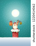 santa claus and reindeer on the ... | Shutterstock .eps vector #1220414062