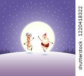 santa claus and reindeer on... | Shutterstock .eps vector #1220418322