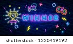 glowing neon sign with award... | Shutterstock .eps vector #1220419192