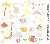 unique vector party animals set ... | Shutterstock .eps vector #1220425588
