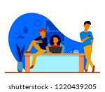 young people work in office... | Shutterstock .eps vector #1220439205