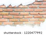 red brick wall with white... | Shutterstock . vector #1220477992