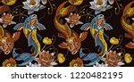 embroidery vintage koi fish and ... | Shutterstock .eps vector #1220482195