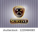 golden emblem or badge with... | Shutterstock .eps vector #1220484085