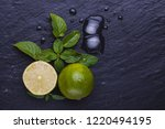 fresh ripe limes with ice  mint ... | Shutterstock . vector #1220494195