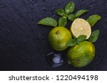 fresh ripe limes with ice  mint ... | Shutterstock . vector #1220494198