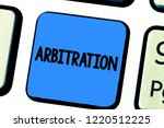 Small photo of Handwriting text writing Arbitration. Concept meaning Use of an arbitrator to settle a dispute Mediation Negotiation