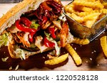 kebab   grilled meat with... | Shutterstock . vector #1220528128
