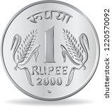 One Rupee Coin Silver In Vecto...