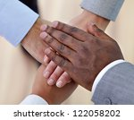above angle of pile of hands of ... | Shutterstock . vector #122058202
