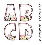 alphabet hand drawn graphic... | Shutterstock . vector #1220584165