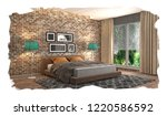 bedroom interior. 3d... | Shutterstock . vector #1220586592