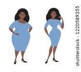 plump black woman in a blue...   Shutterstock .eps vector #1220589355