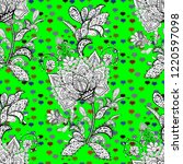 seamless doodles white  black... | Shutterstock .eps vector #1220597098
