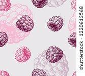 raspberry. seamless pattern....   Shutterstock .eps vector #1220613568