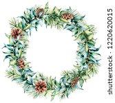 watercolor christmas wreath... | Shutterstock . vector #1220620015