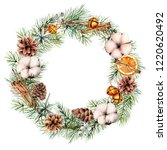 watercolor christmas wreath... | Shutterstock . vector #1220620492