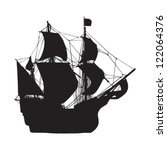 silhouette of old sailing ship | Shutterstock .eps vector #122064376