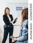 young woman teaching english to ... | Shutterstock . vector #1220655205