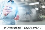 gears mechanism on virtual... | Shutterstock . vector #1220659648
