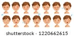 Boy Facial Emotions Set. Child...
